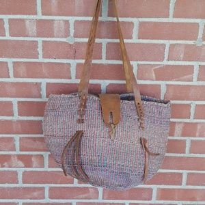 Vintage hand woven jute and leather handbag